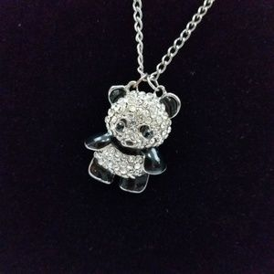~ Panda Necklace Rhinestone Bling Long Chain Silve